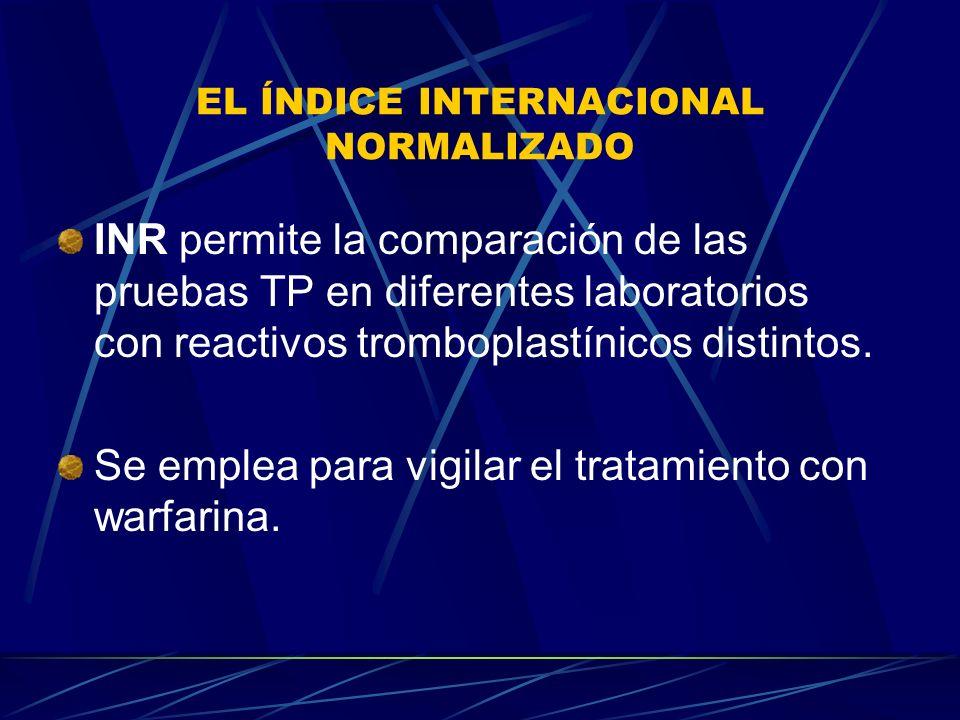 EL ÍNDICE INTERNACIONAL NORMALIZADO INR permite la comparación de las pruebas TP en diferentes laboratorios con reactivos tromboplastínicos distintos.