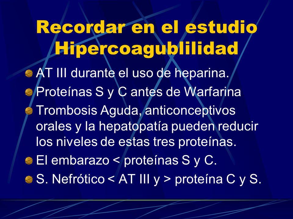 Recordar en el estudio Hipercoagublilidad AT III durante el uso de heparina. Proteínas S y C antes de Warfarina Trombosis Aguda, anticonceptivos orale