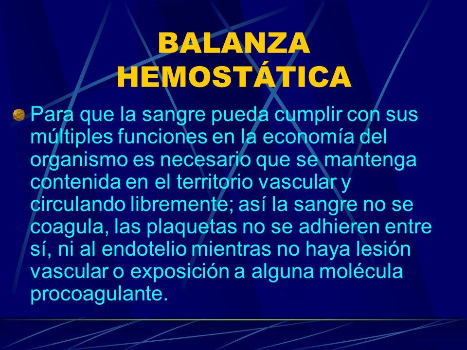 BALANZA HEMOSTÁTICA Para que la sangre pueda cumplir con sus múltiples funciones en la economía del organismo es necesario que se mantenga contenida e