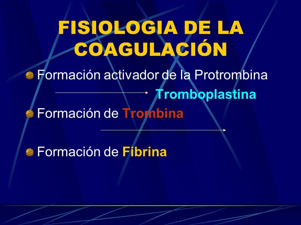 FISIOLOGIA DE LA COAGULACIÓN Formación activador de la Protrombina Tromboplastina Formación de Trombina Formación de Fibrina