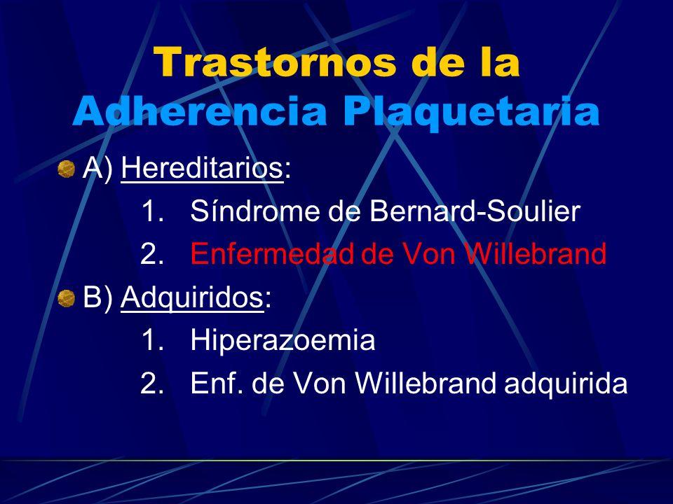 Trastornos de la Adherencia Plaquetaria A) Hereditarios: 1. Síndrome de Bernard-Soulier 2. Enfermedad de Von Willebrand B) Adquiridos: 1. Hiperazoemia