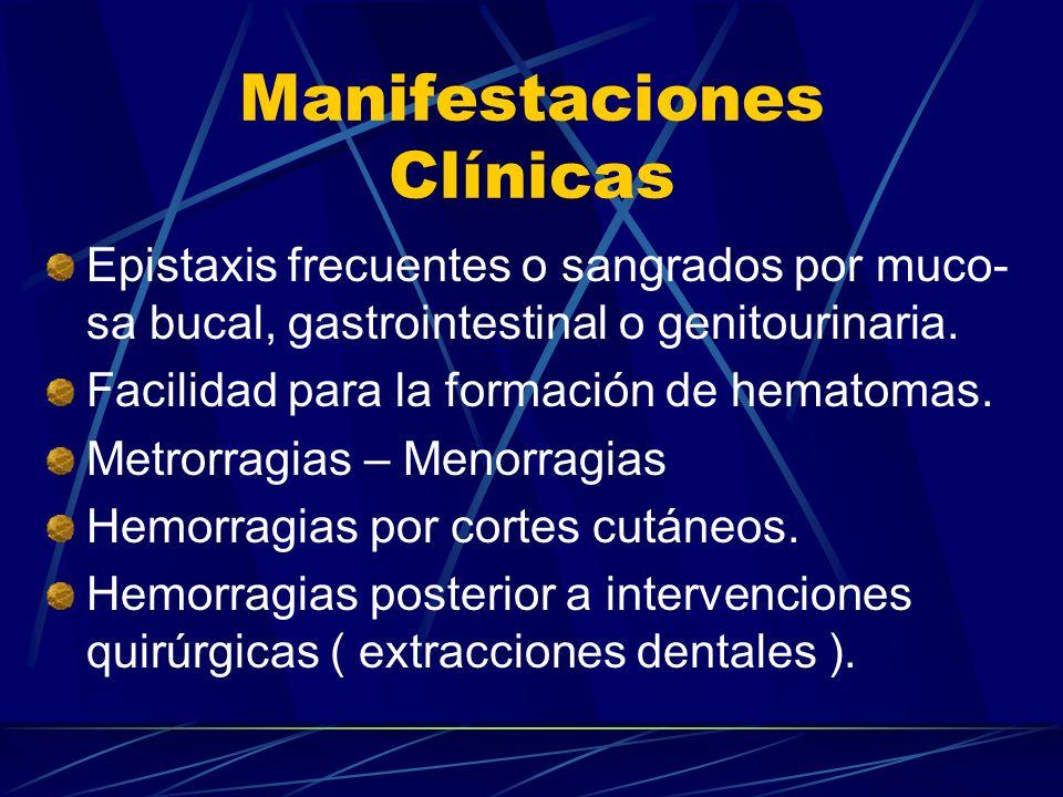 Manifestaciones Clínicas Epistaxis frecuentes o sangrados por muco- sa bucal, gastrointestinal o genitourinaria. Facilidad para la formación de hemato