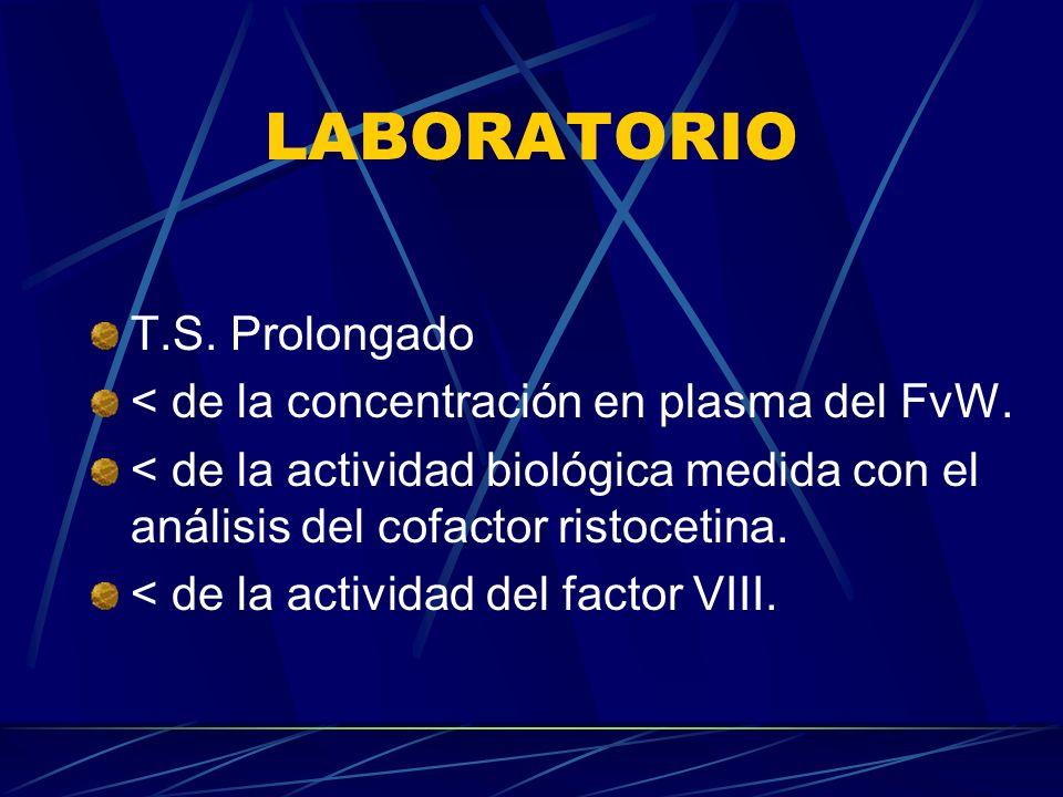 LABORATORIO T.S. Prolongado < de la concentración en plasma del FvW. < de la actividad biológica medida con el análisis del cofactor ristocetina. < de