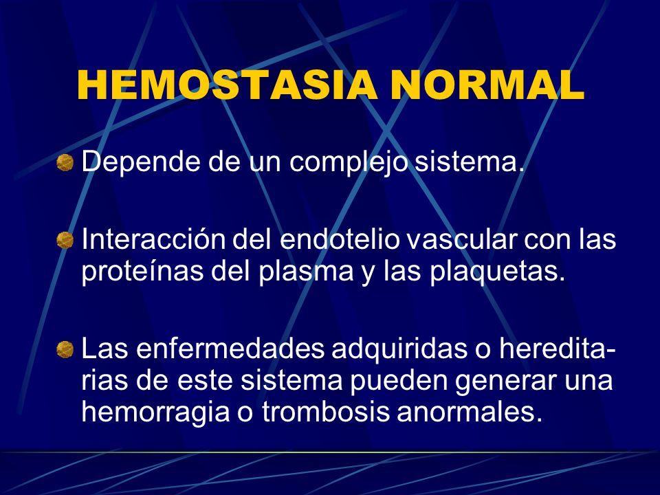 HEMOSTASIA NORMAL Depende de un complejo sistema. Interacción del endotelio vascular con las proteínas del plasma y las plaquetas. Las enfermedades ad