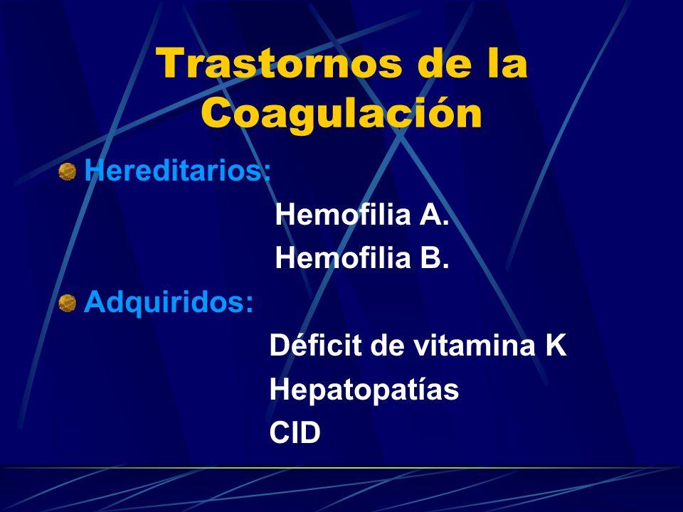 Trastornos de la Coagulación Hereditarios: Hemofilia A. Hemofilia B. Adquiridos: Déficit de vitamina K Hepatopatías CID