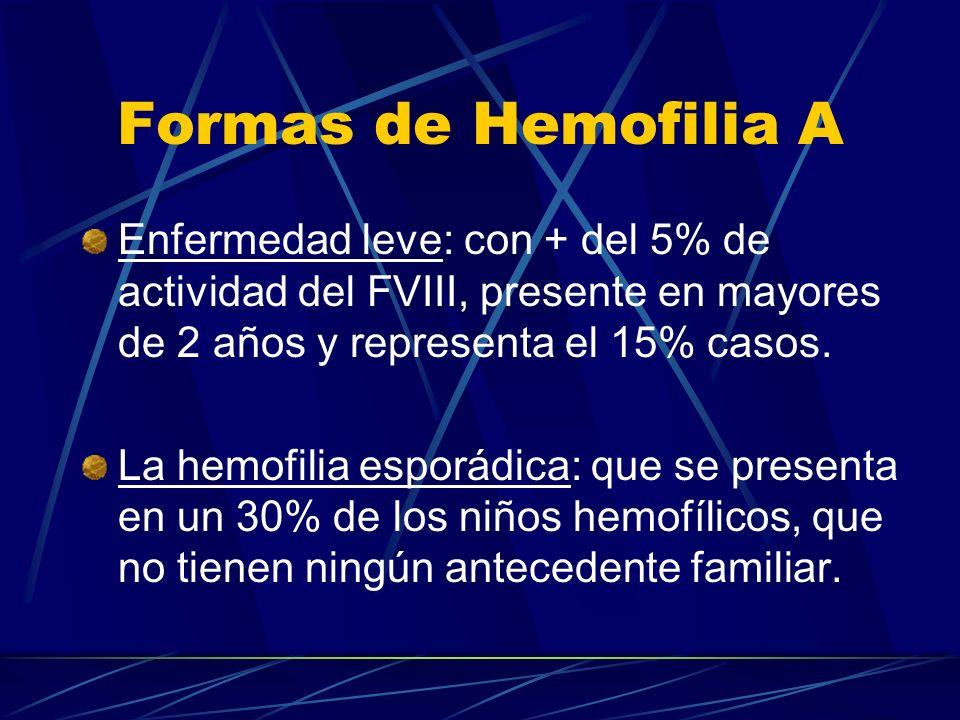 Formas de Hemofilia A Enfermedad leve: con + del 5% de actividad del FVIII, presente en mayores de 2 años y representa el 15% casos. La hemofilia espo