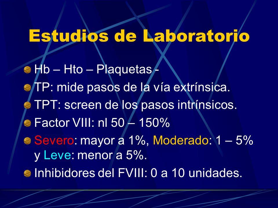 Estudios de Laboratorio Hb – Hto – Plaquetas - TP: mide pasos de la vía extrínsica. TPT: screen de los pasos intrínsicos. Factor VIII: nl 50 – 150% Se
