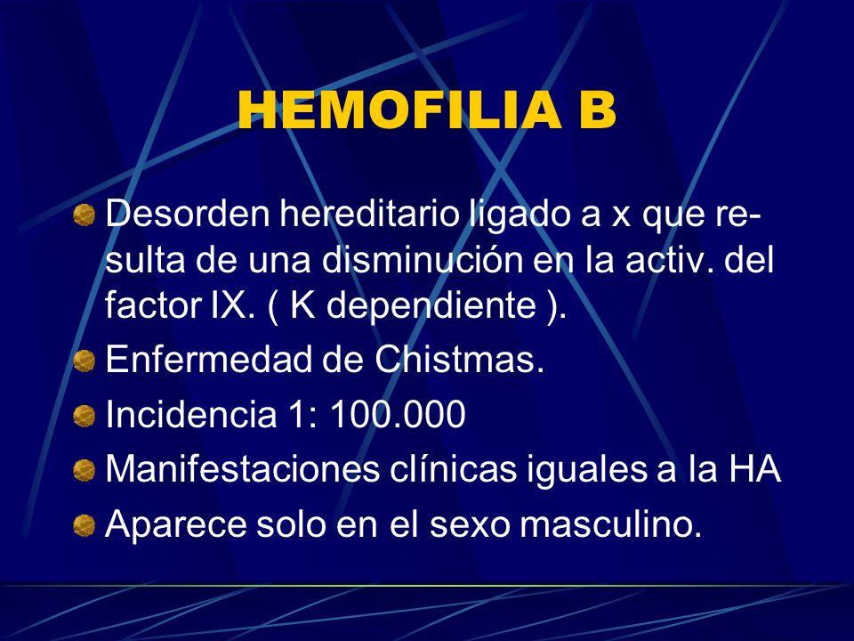 HEMOFILIA B Desorden hereditario ligado a x que re- sulta de una disminución en la activ. del factor IX. ( K dependiente ). Enfermedad de Chistmas. In