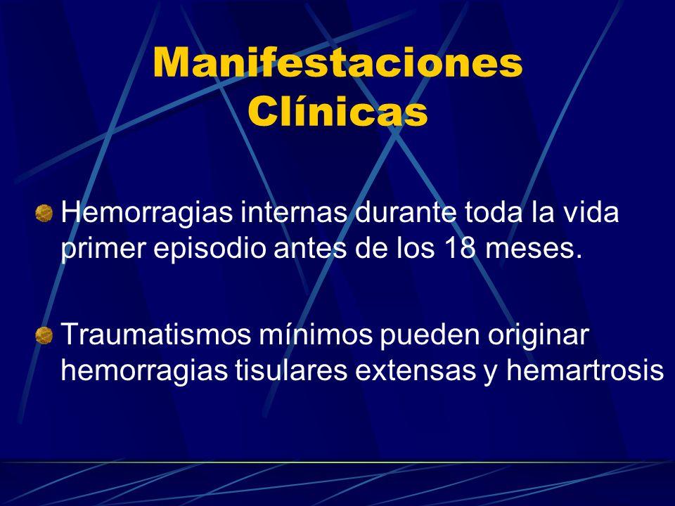 Manifestaciones Clínicas Hemorragias internas durante toda la vida primer episodio antes de los 18 meses. Traumatismos mínimos pueden originar hemorra