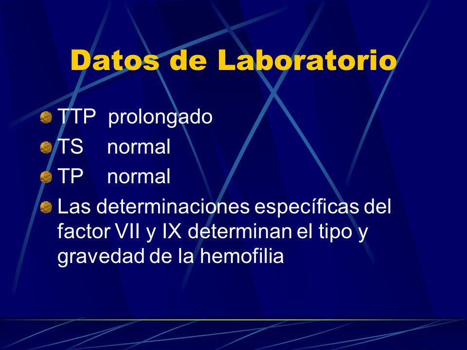 Datos de Laboratorio TTP prolongado TS normal TP normal Las determinaciones específicas del factor VII y IX determinan el tipo y gravedad de la hemofi