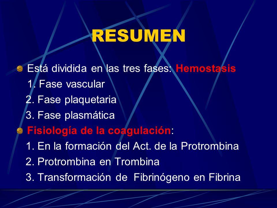 RESUMEN Está dividida en las tres fases: Hemostasis 1. Fase vascular 2. Fase plaquetaria 3. Fase plasmática Fisiología de la coagulación: 1. En la for