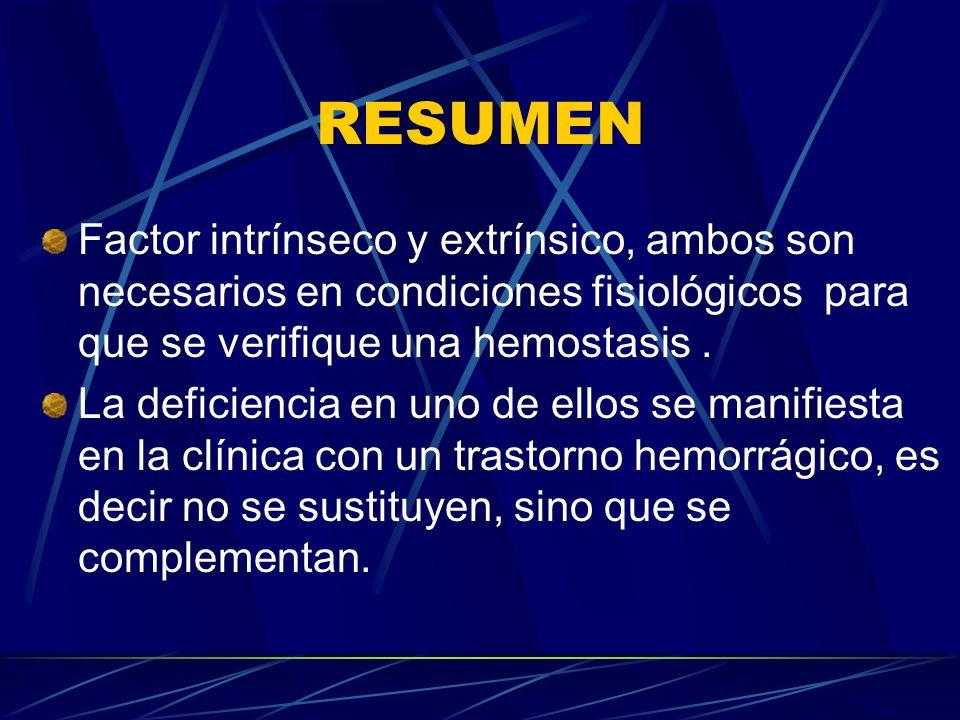 RESUMEN Factor intrínseco y extrínsico, ambos son necesarios en condiciones fisiológicos para que se verifique una hemostasis. La deficiencia en uno d