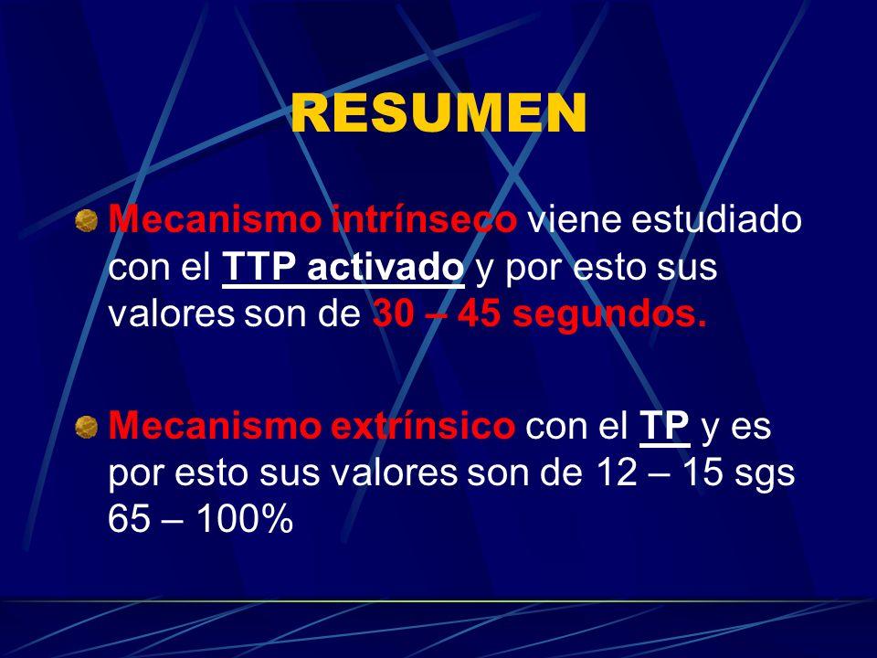 RESUMEN Mecanismo intrínseco viene estudiado con el TTP activado y por esto sus valores son de 30 – 45 segundos. Mecanismo extrínsico con el TP y es p