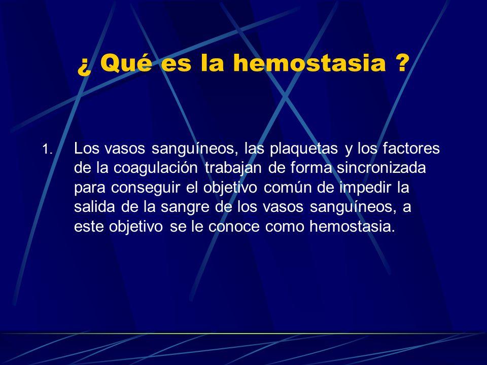 ¿ Qué es la hemostasia ? 1. Los vasos sanguíneos, las plaquetas y los factores de la coagulación trabajan de forma sincronizada para conseguir el obje