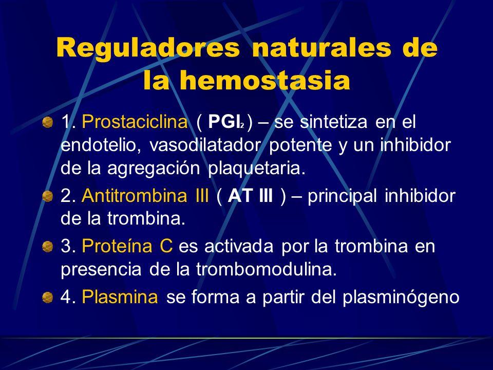 Reguladores naturales de la hemostasia 1. Prostaciclina ( PGI 2 ) – se sintetiza en el endotelio, vasodilatador potente y un inhibidor de la agregació