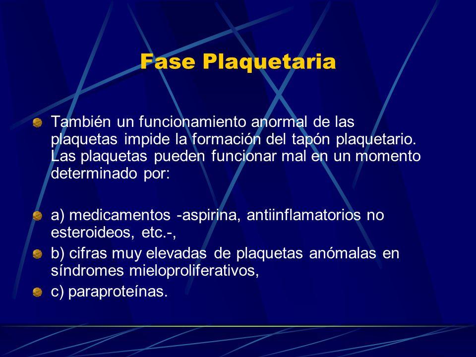 Fase Plaquetaria También un funcionamiento anormal de las plaquetas impide la formación del tapón plaquetario. Las plaquetas pueden funcionar mal en u