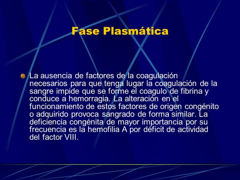 Fase Plasmática La ausencia de factores de la coagulación necesarios para que tenga lugar la coagulación de la sangre impide que se forme el coagulo d