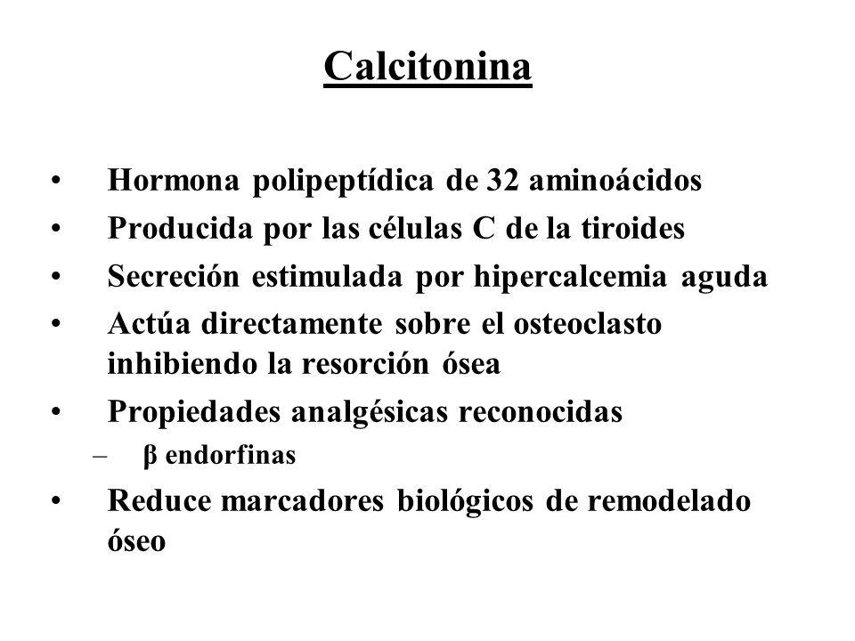 Calcitonina Hormona polipeptídica de 32 aminoácidos Producida por las células C de la tiroides Secreción estimulada por hipercalcemia aguda Actúa dire
