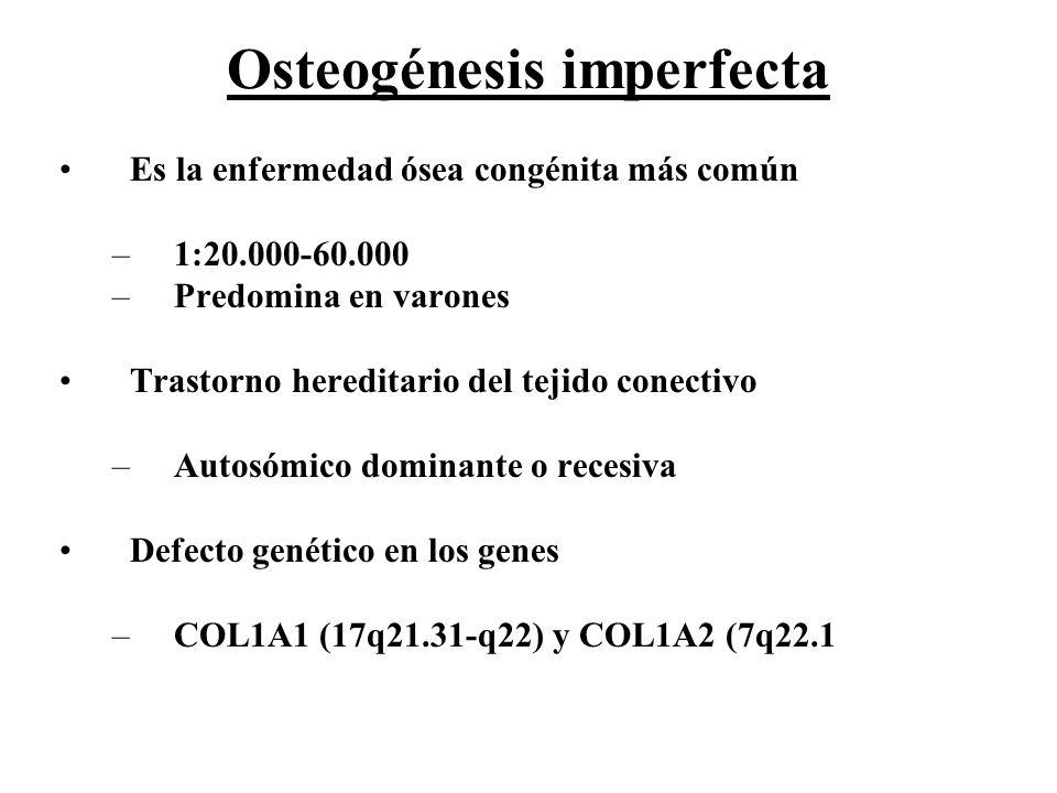 Osteogénesis imperfecta Es la enfermedad ósea congénita más común –1:20.000-60.000 –Predomina en varones Trastorno hereditario del tejido conectivo –A