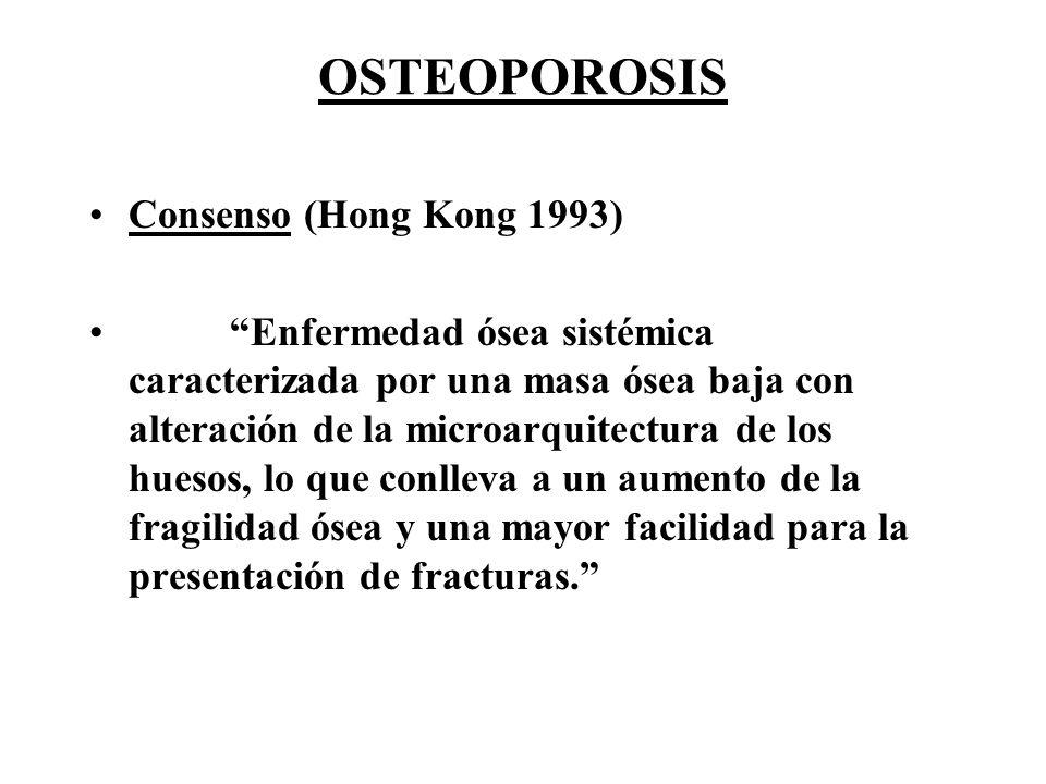 OSTEOPOROSIS Consenso (Hong Kong 1993) Enfermedad ósea sistémica caracterizada por una masa ósea baja con alteración de la microarquitectura de los hu