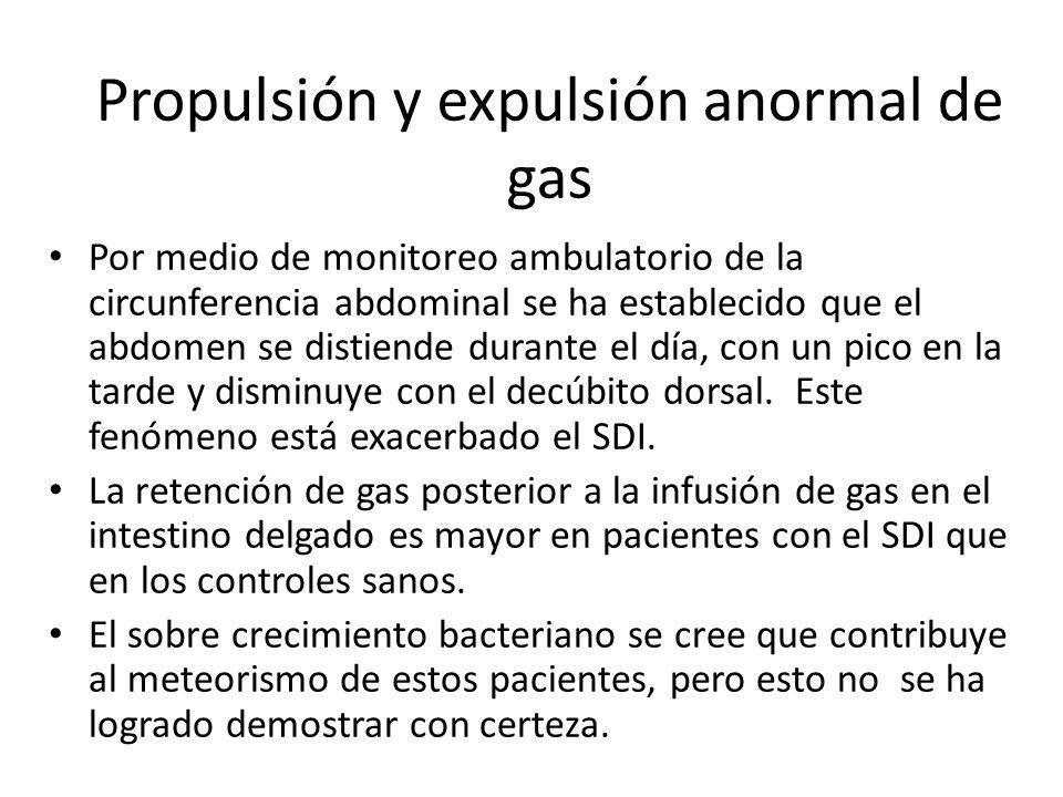 Propulsión y expulsión anormal de gas Por medio de monitoreo ambulatorio de la circunferencia abdominal se ha establecido que el abdomen se distiende