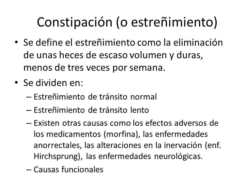 Constipación (o estreñimiento) Se define el estreñimiento como la eliminación de unas heces de escaso volumen y duras, menos de tres veces por semana.