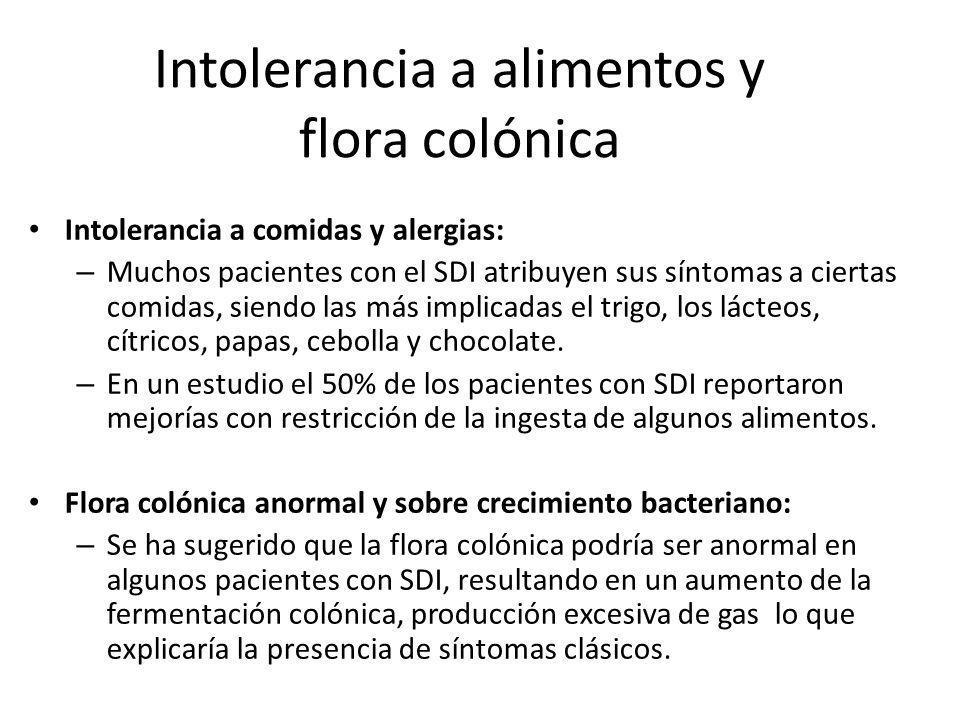 Intolerancia a alimentos y flora colónica Intolerancia a comidas y alergias: – Muchos pacientes con el SDI atribuyen sus síntomas a ciertas comidas, s