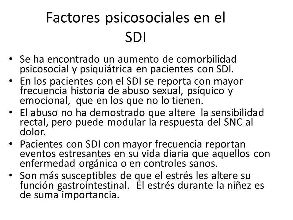 Factores psicosociales en el SDI Se ha encontrado un aumento de comorbilidad psicosocial y psiquiátrica en pacientes con SDI. En los pacientes con el