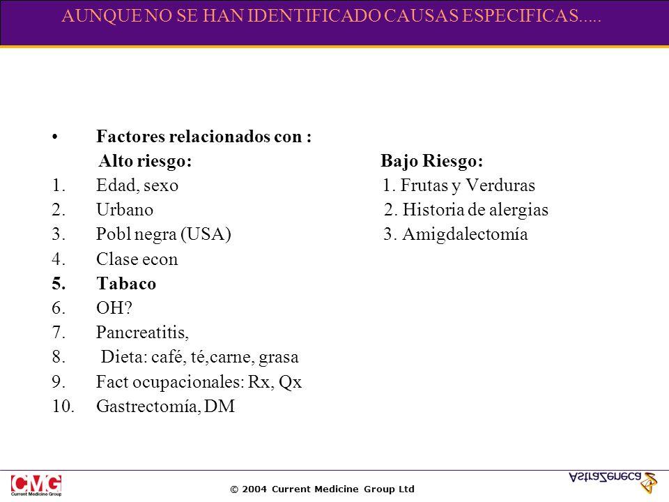 © 2004 Current Medicine Group Ltd AUNQUE NO SE HAN IDENTIFICADO CAUSAS ESPECIFICAS..... Factores relacionados con : Alto riesgo: Bajo Riesgo: 1.Edad,