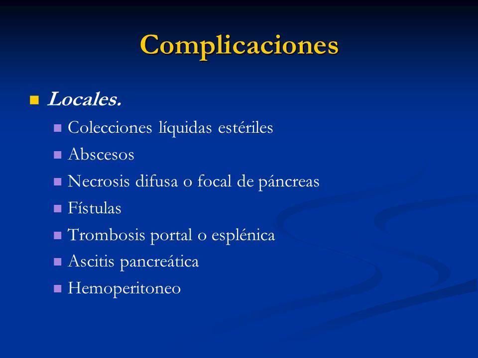 Complicaciones Locales. Colecciones líquidas estériles Abscesos Necrosis difusa o focal de páncreas Fístulas Trombosis portal o esplénica Ascitis panc