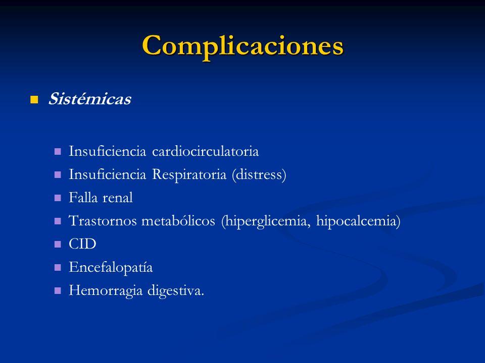 Complicaciones Sistémicas Insuficiencia cardiocirculatoria Insuficiencia Respiratoria (distress) Falla renal Trastornos metabólicos (hiperglicemia, hi