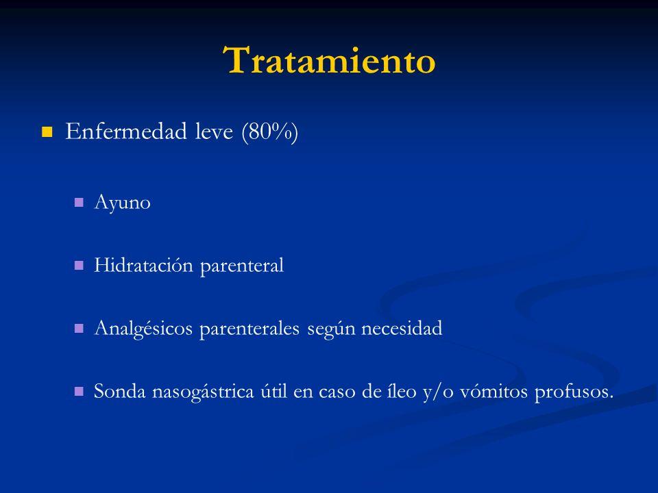 Tratamiento Enfermedad leve (80%) Ayuno Hidratación parenteral Analgésicos parenterales según necesidad Sonda nasogástrica útil en caso de íleo y/o vó