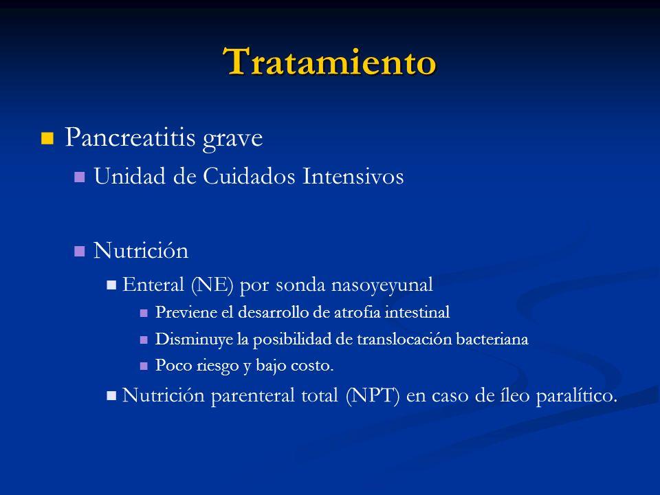 Tratamiento Pancreatitis grave Unidad de Cuidados Intensivos Nutrición Enteral (NE) por sonda nasoyeyunal Previene el desarrollo de atrofia intestinal