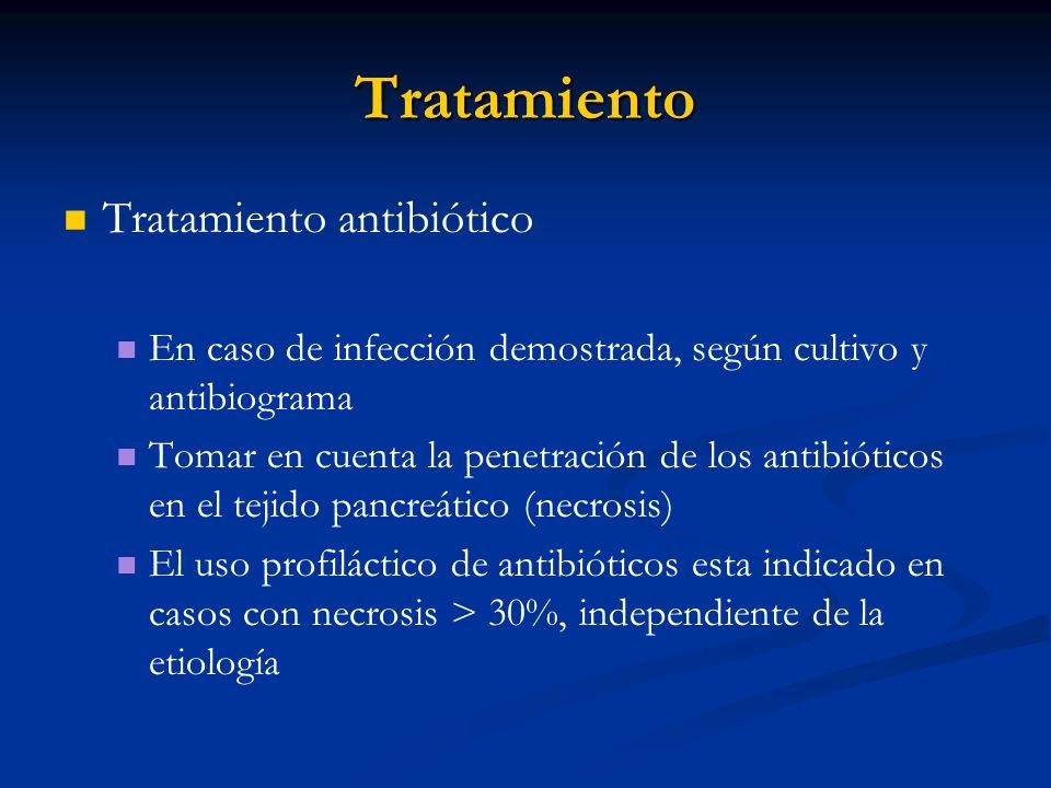 Tratamiento Tratamiento antibiótico En caso de infección demostrada, según cultivo y antibiograma Tomar en cuenta la penetración de los antibióticos e