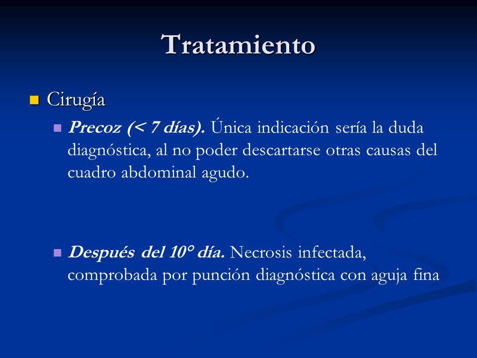 Tratamiento Cirugía Cirugía Precoz (< 7 días). Única indicación sería la duda diagnóstica, al no poder descartarse otras causas del cuadro abdominal a
