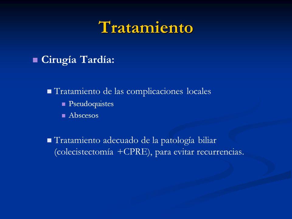 Tratamiento Cirugía Tardía: Tratamiento de las complicaciones locales Pseudoquistes Abscesos Tratamiento adecuado de la patología biliar (colecistecto