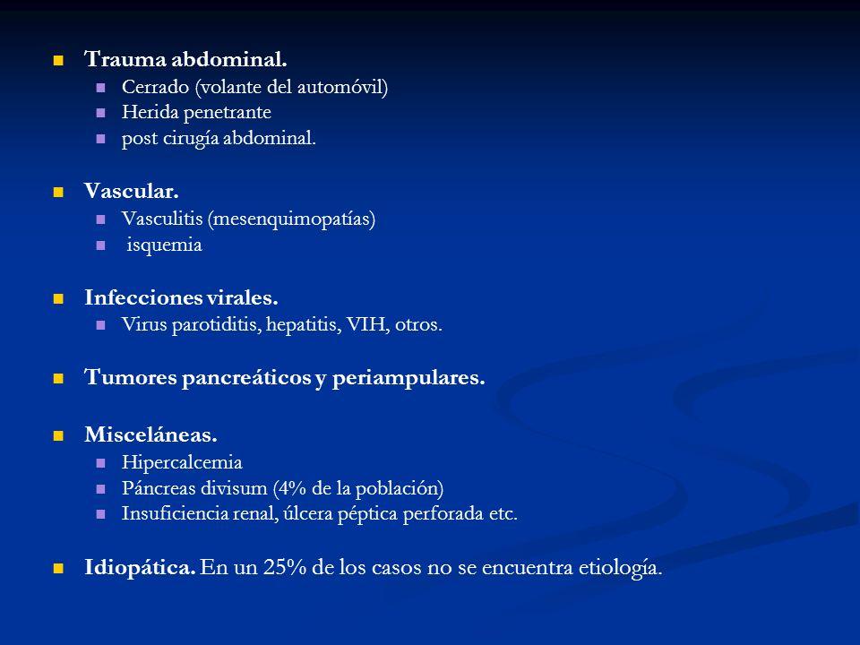 Diagnóstico El dolor abdominal alto 80% de los casos, teniendo un 50% de ellos irradiación dorsal.