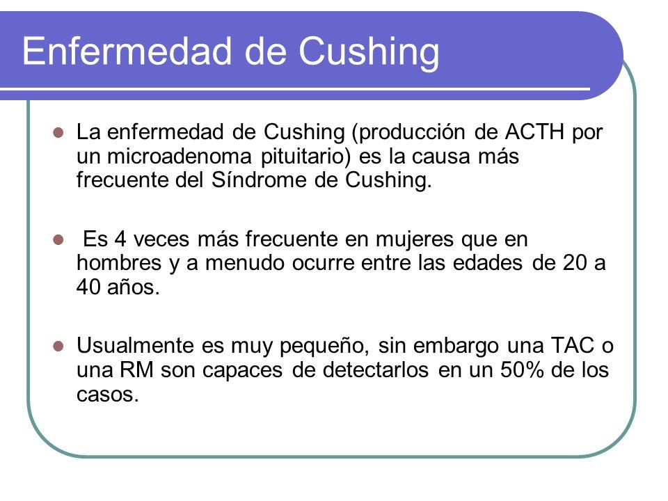 Enfermedad de Cushing La enfermedad de Cushing (producción de ACTH por un microadenoma pituitario) es la causa más frecuente del Síndrome de Cushing.