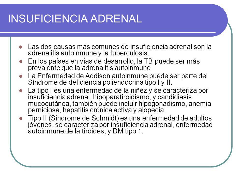 INSUFICIENCIA ADRENAL Las dos causas más comunes de insuficiencia adrenal son la adrenalitis autoinmune y la tuberculosis.