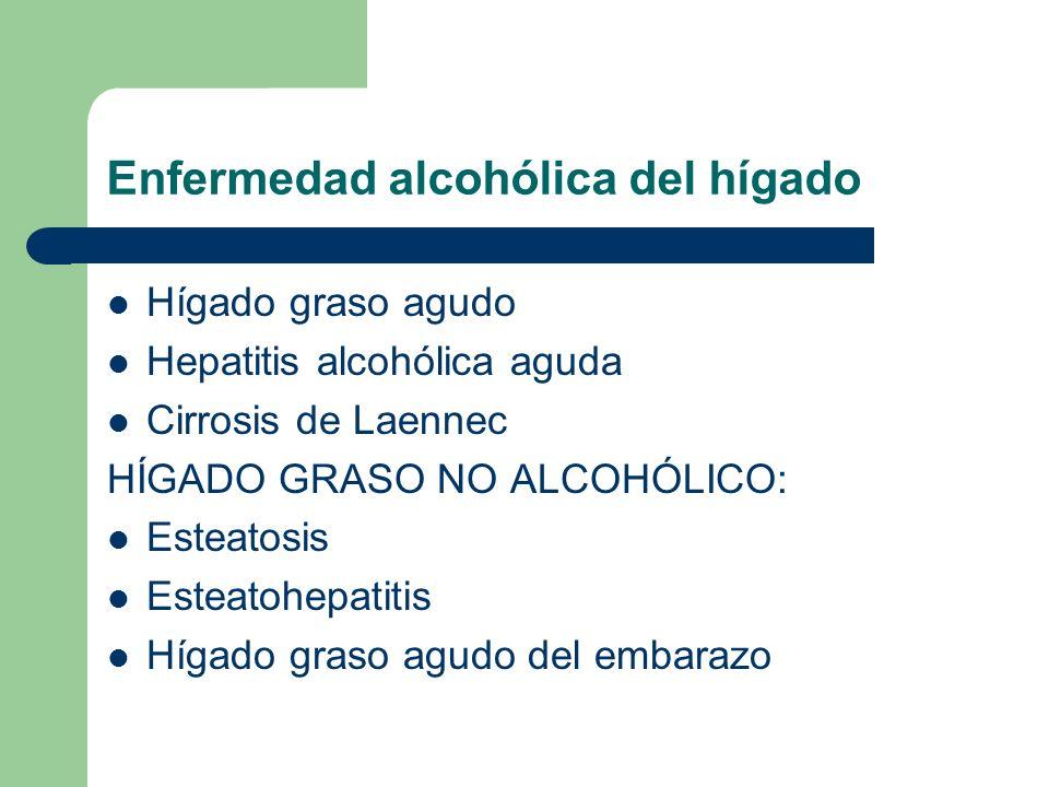 Enfermedad alcohólica del hígado Hígado graso agudo Hepatitis alcohólica aguda Cirrosis de Laennec HÍGADO GRASO NO ALCOHÓLICO: Esteatosis Esteatohepat