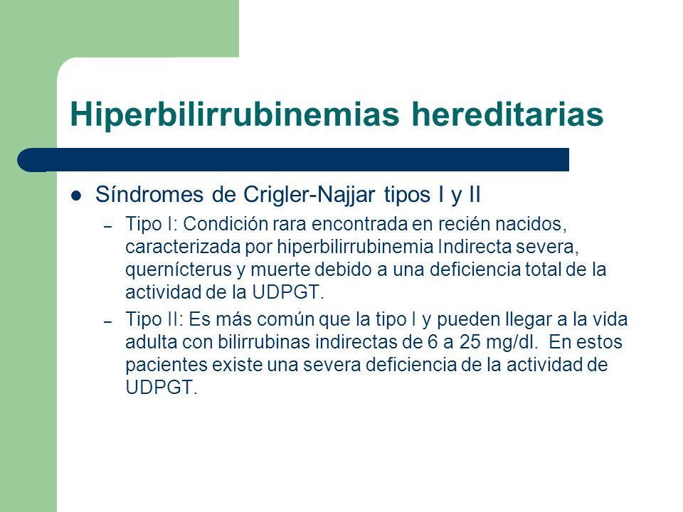 Hiperbilirrubinemias hereditarias Síndromes de Crigler-Najjar tipos I y II – Tipo I: Condición rara encontrada en recién nacidos, caracterizada por hi