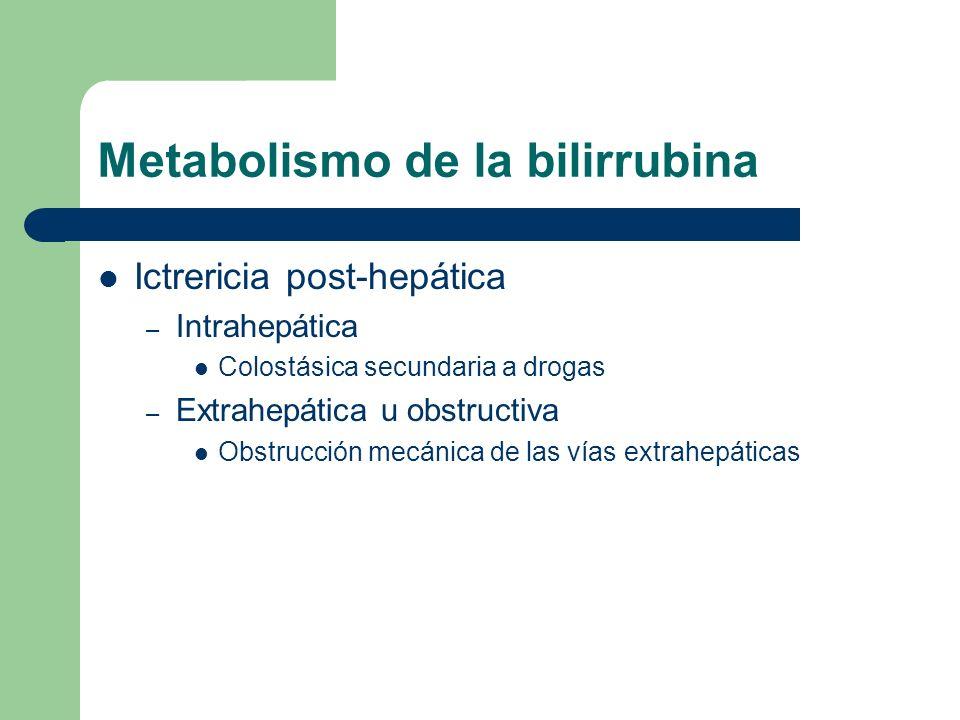 Metabolismo de la bilirrubina Ictrericia post-hepática – Intrahepática Colostásica secundaria a drogas – Extrahepática u obstructiva Obstrucción mecán