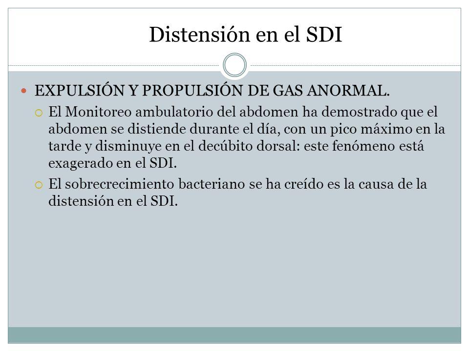 Distensión en el SDI EXPULSIÓN Y PROPULSIÓN DE GAS ANORMAL. El Monitoreo ambulatorio del abdomen ha demostrado que el abdomen se distiende durante el