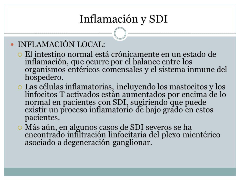 Inflamación y SDI INFLAMACIÓN LOCAL: El intestino normal está crónicamente en un estado de inflamación, que ocurre por el balance entre los organismos