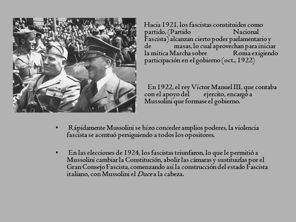 El régimen fascista, en su situación económica y social de crisis, lograron aglutinar a todos los descontentos con la democracia liberal, dando garant