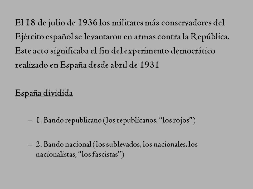 Antecedentes 1931-1936. El proyecto democratizador de la II República fracasa. Victoria del Frente Popular (socialistas, republicanos y comunistas) en