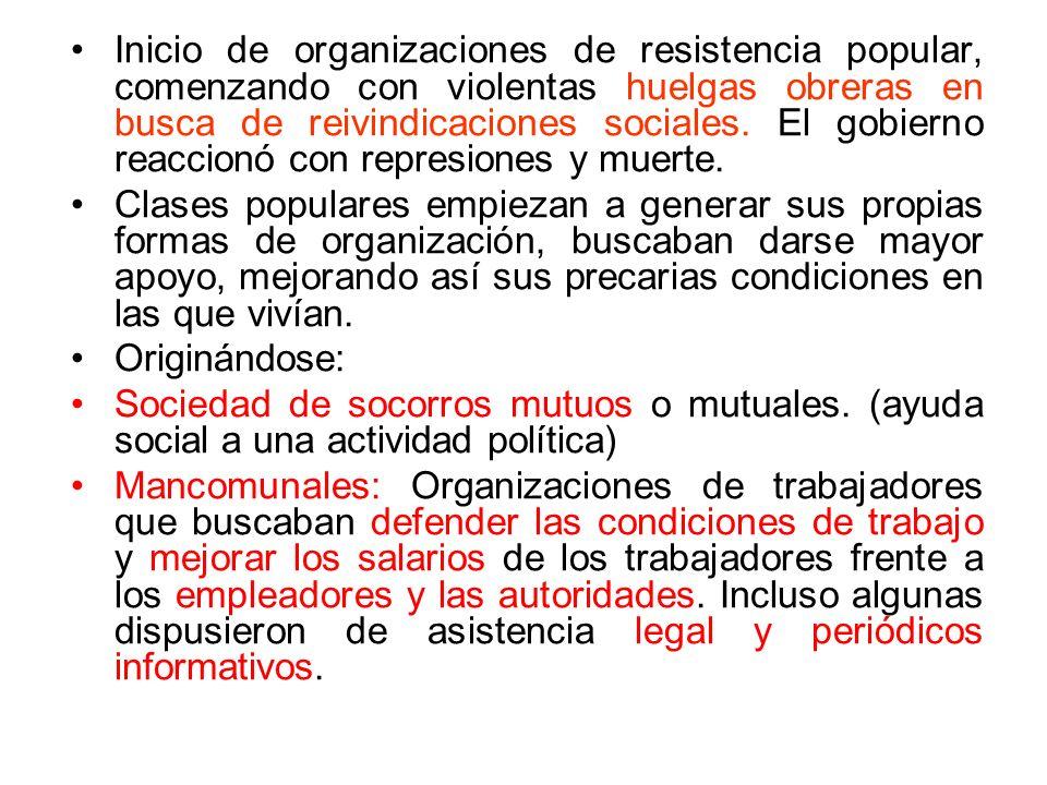 Inicio de organizaciones de resistencia popular, comenzando con violentas huelgas obreras en busca de reivindicaciones sociales. El gobierno reaccionó