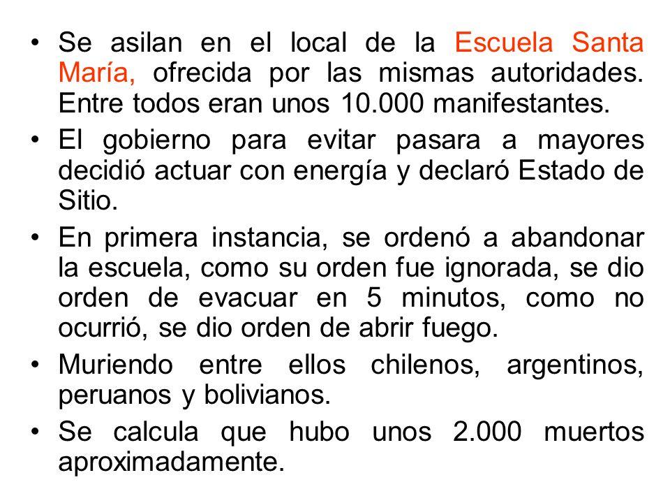 Se asilan en el local de la Escuela Santa María, ofrecida por las mismas autoridades. Entre todos eran unos 10.000 manifestantes. El gobierno para evi