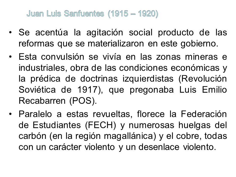 Se acentúa la agitación social producto de las reformas que se materializaron en este gobierno. Esta convulsión se vivía en las zonas mineras e indust