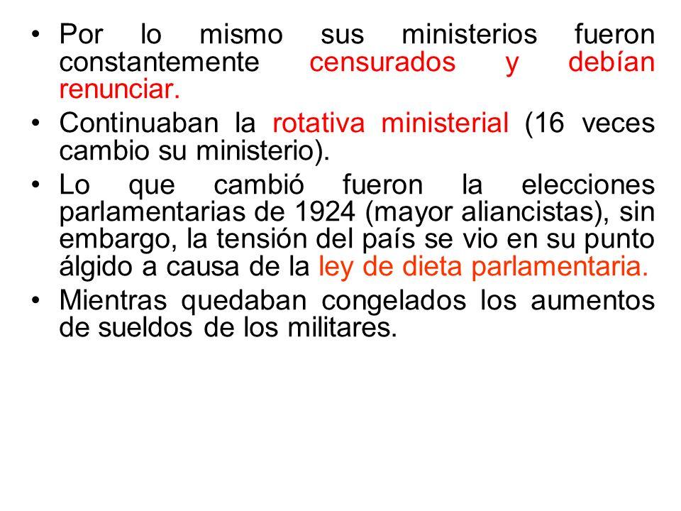 Por lo mismo sus ministerios fueron constantemente censurados y debían renunciar. Continuaban la rotativa ministerial (16 veces cambio su ministerio).
